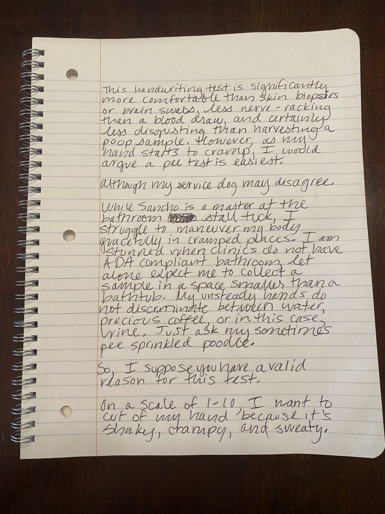 Keeya's handwriting sample