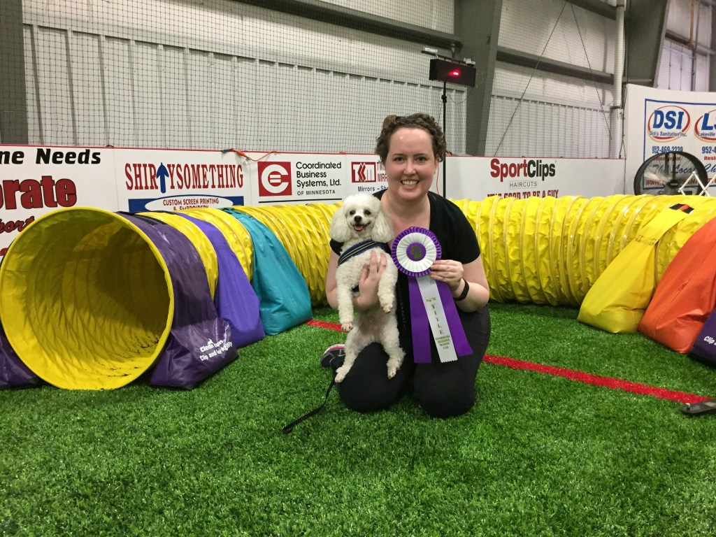 Quixote, me, and his agility title ribbon